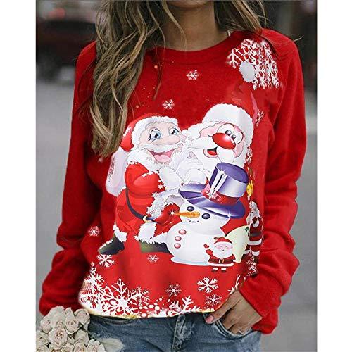 QSDM Camisetas y Blusas para Mujer Sudaderas de Mujer Tops Otoño e Invierno Navidad Estilo Caliente Ropa de Mujer Suelta muñeco de Nieve Estampado suéter de Manga Larga con Fondo-Rojo_S