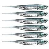 QualyQualy 6Pz - 7,5cm Esche di Plastica - Esche di Artificiali Siliconici Morbido Silicone Esca Artificiale - Esche per la Pesca al luccio (4#)