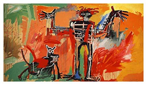 JH Lacrocon Peintures à la Main Boy and Dog in A Johnnypump 1982 Von Jean-Michel Basquiat - 150X80 cm Reproduction Toile Graffiti Poster Roulée