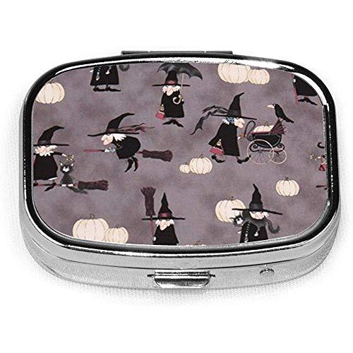 Halloween heks compressie op maat gepersonaliseerde vierkante pil doos decoratieve doos vitamine container zak of portemonnee