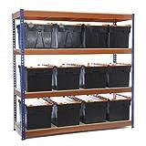 Racking Solutions - Estantería / Estante del garaje/ Sistema de almacenamiento de acero, cargas pesadas, capacidad de carga total 1600kg (4 niveles 1800mm Al x 1800mm An x 600mm Pr) con 12 CROC Cajas de almacenamiento de plástico de 65lts + Envío gratis