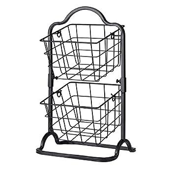 2-Tier Metal Basket Stand Mini Kitchen Storage Basket Countertop Shelf Rack for Fruits Vegetables Household Items Toiletries(Black).