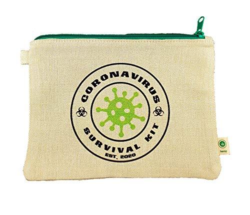 Ink Trendz Quarantine Survival Novelty est.2020 Makeup Bag, Pencil Pouch Hemp Canvas Zipper Pouch 7' x 9' Toiletry Bag