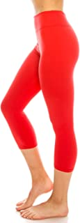 ShyCloset High Waisted Yoga Leggings - Capri & Ankle Full Length Basic Plain Soft Slim Tight Pants