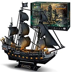 【Realistic Appearance & Scale Model】1/95 scale Queen Anne's Revenge. Built-up Model Size: 28.6 x 13.5 x 27.2 inches. Assemble your own pirate ship to enjoy a wonderful journey of ancient pirates adventure! 【Lighting Queen Anne's Revenge】Made of paper...