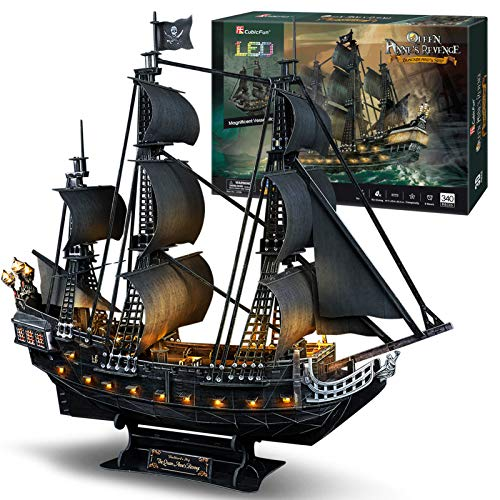 CubicFun 3D Puzzles Pirate Ship and Sailboat Vessel Black Pearl Highly Difficult Model Kit Ship Queen Anne's Revenge (Large with LED Lights) Building 3-d Puzzles Gifts for Adults and Kids, 340 Pieces