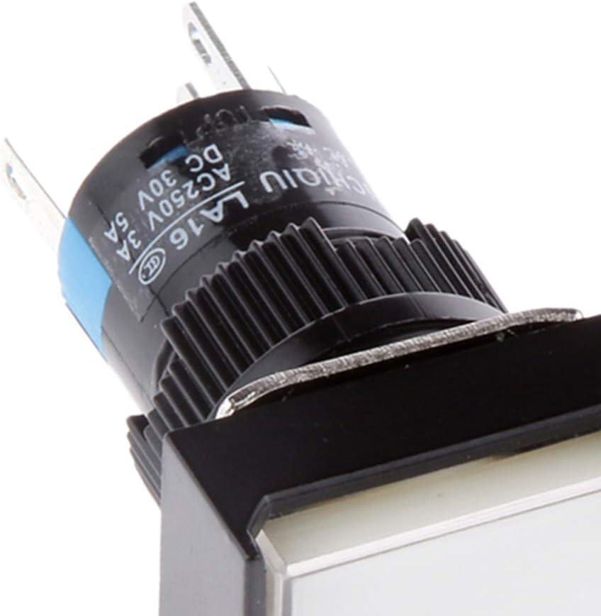 Blanc B Baosity Commutateur /à Bouton-Poussoir Rectangulaire /à Bascule Momentan/é DC 24V avec Lumi/ère LED