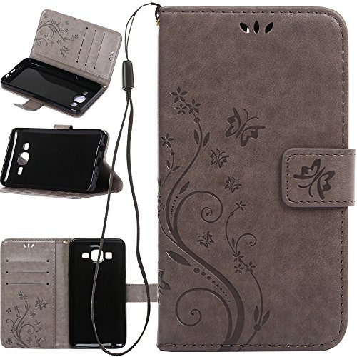 Galaxy On5 Case, Harryshell(TM) Butterfly Flower PU Leather Wallet Protective Flip Pouch Case Cover with Card Slots & Stand for Samsung Galaxy On5 (A-01)