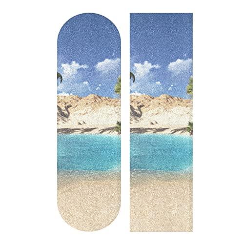 Zemivs 33,1 x 9,1 Zoll Sport Outdoor Skateboards Grip Tape Oase in der Wüste Print Wasserdichtes farbiges Skateboard Grip Tape für Tanzbrett Double Rocker Board Deck 1 Blatt