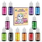 Abree Colorante Alimentario 12*10ml,Colorante Reposteria Alta Concentración Liquid para Colorear los Macaron Fondant Pasteles Galletas Bebidas