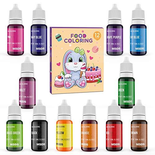Abree Colorante Alimentario 12*10ml,Colorante Reposteria Alta Concentración Liquid para Colorear los Macaron Fondant...