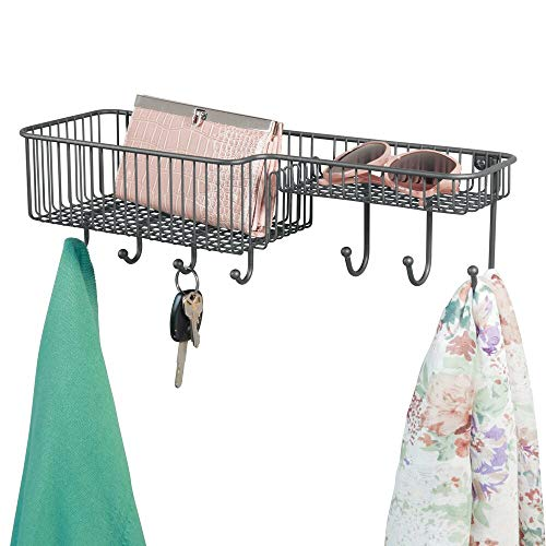 mDesign Metal Wire Wall Mount Entryway Storage Organizer Mail Basket Holder with 7 Hooks, 2 Compartments - for Organizing Letters, Magazines, Keys, Coats, Leashes - Graphite
