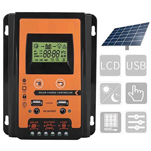 Regolatore di carica solare MPPT, 12V/24V 30A50A Regolatore di carica pannello solare MPPT Regolatore di batteria con doppio display LCD USB Interfaccia 2.4V Riconoscimento automatic