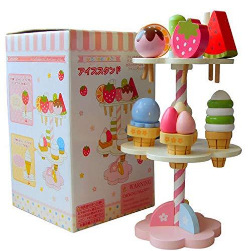 Luerme 11 Stück Eiscreme Spielzeug aus Holz Simulation Spielhaus Eiscreme Spielzeug Eis Drei-Schicht-Kuchen aus Holz Küche Spielzeug für Jungen und Mädchen Stell dir vor, du spielst