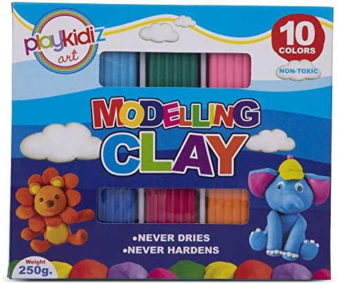 Playkidiz Art Modeling Clay 10 Colors Beginners Pack STEM Educational DIY Molding Set at Home product image