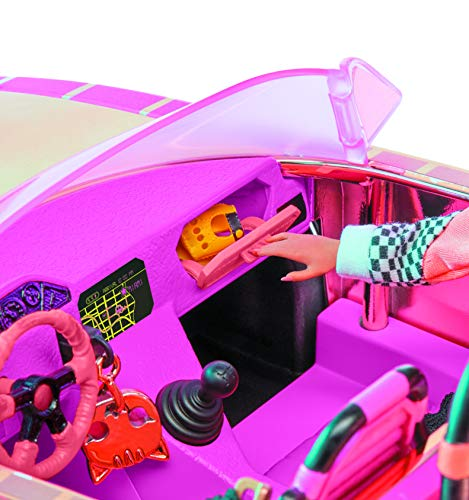 L.O.L. LLUB7 Surprise, Lights Car-Pool Coupe – with 1 Exclusive Doll 8 cm, Black Light, Transformable Chest, Glow in the Dark Doll, Accessories, Batteries Not Included, Toy for Children from 3 Years