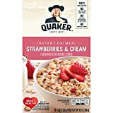 Bursting with the sweet flavors of strawberries and fresh cream Includes 10 packets Quaker Instant Oatmeal is made from 100% whole grain Quaker Oats Good source of iron, calcium and 7 other essential vitamins and minerals