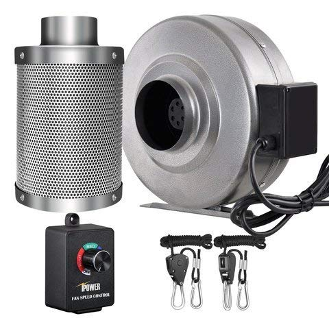 iPower 4 Inch 190 CFM Inline Fan Carbon Filter Combo with Variable Speed Controller 8 Feet Rope Hanger for Grow Tent Ventilation, Grey