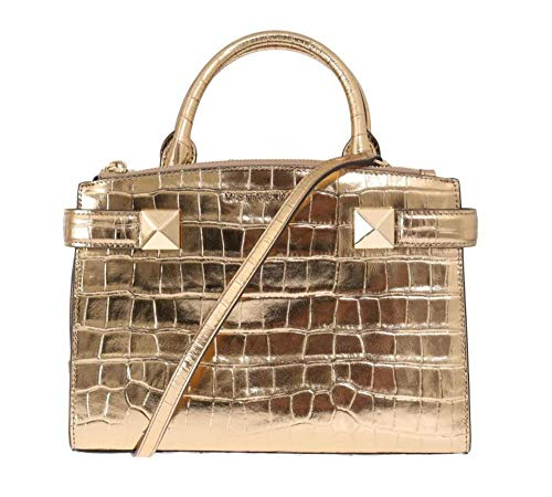 """Crocodile embossed Leather, Golden Hardware Front full length zip compartment Snap Top Closure Handles with 3.5"""" drop; Comes with removable & adjustable shoulder strap with 23"""" drop 10""""(L) X 7""""(H) X 3""""(D)"""