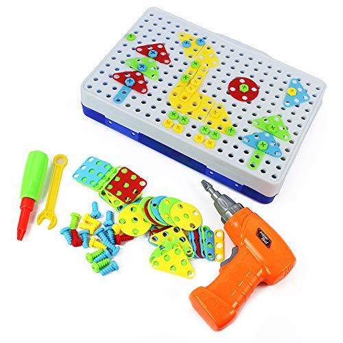 DIY Puzzel Bouwstenen Speelgoed Met Elektrische Boor, Creatief 2D 3D-Modellen Monteren, Leerzaam STEM Constructieleren Speelgoed Set Voor Boys Girls Leeftijd 3+, 240 Stuks