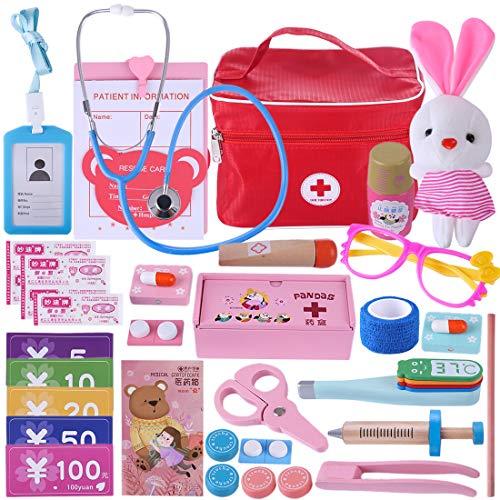 Searchyou Valigetta Dottore Bambini, 31 Pezzi Legno Dottore Giocattoto, Set per Giocare al Dottore per Bambini 3 4 5 6 Anni
