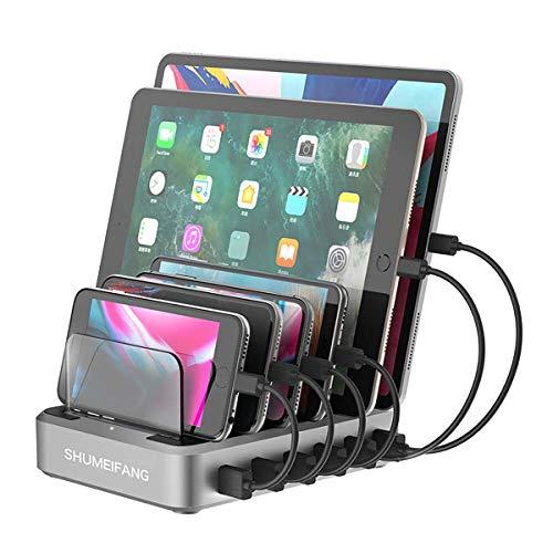 shumeifang Estación de carga para varios dispositivos, 6 puertos, PD - Tipo C+2 x 18 W, carga rápida QC3.0+3 puertos de carga Smart USB, para teléfonos móviles, smartphones y tablets, color plateado