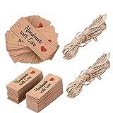Etichette regalo con spago, Goodchanceuk 200pezzi carta kraft realizzato a mano con amore etichetta 5cm x 2cm San Valentino, artigianato etichette regalo