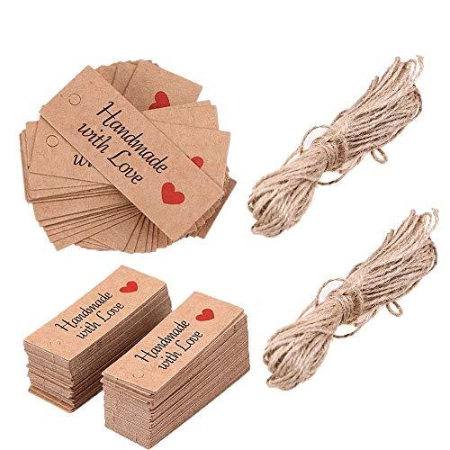Etichette regalo con spago, Goodchanceuk 200pezzi carta kraft realizzato a mano con amore...