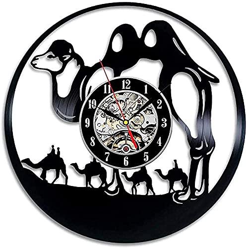 BBZZL Reloj de Pared de Moda de Estilo Animal Camel Decora tu hogar con Arte Moderno de diseño Animal, los Mejores Regalos para Hombres y Mujeres