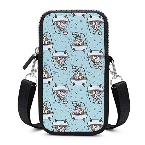 Bolso bandolera para teléfono móvil con correa de hombro extraíble, vacas de baño, resistente al desgaste, funda para llave de cintura, gimnasio, fitness, unisex