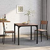 Gogogo Dining Table and 2 Chairs Set Solid Wooden Steel Frame Kitchen Table Furniture Dining Set Industrial Style Retro Kitchen Dining Table Set (Rustic Brown)