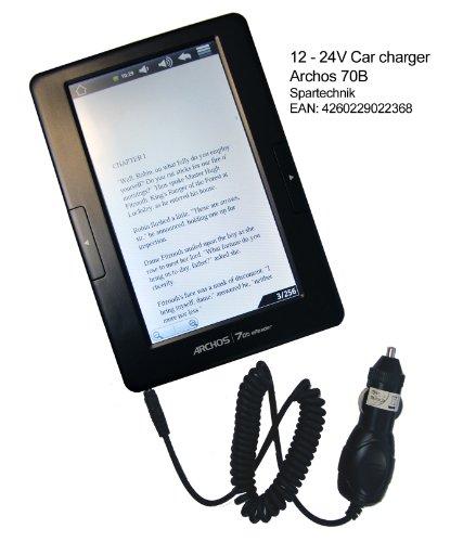 Spartechnik 12V KfZ Ladekabel für Archos 70B E-Book: Autolader 12-24 Volt für ARCHOS E-Book 70-B & Arnova 7e H2 Dual Touch E-Book car charger Output: 5V, 2A, schwarz