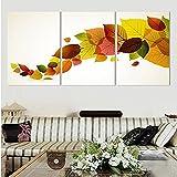 3 piezas una cuerda hojas coloridas pintura hogar sala de estar decoración de la pared obra de arte impresión imagen lienzo sin marco-30x40cmx3