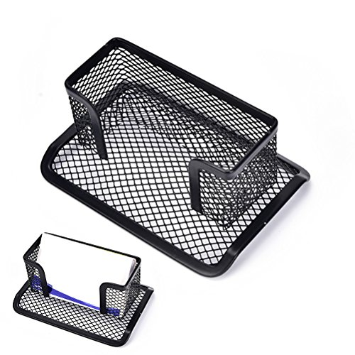 Partstock 1PCS Metal Mesh Business Card Holder for Office Desk,Multi-Function Name Card Collection Organizer Supplies Storage Case Display Stand Black