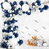 Bloonsy Navy Blue Balloon Garland Kit   Balloon Arch Kit for Baby Boy Shower   120 Pack   Navy Blue and Silver Balloons