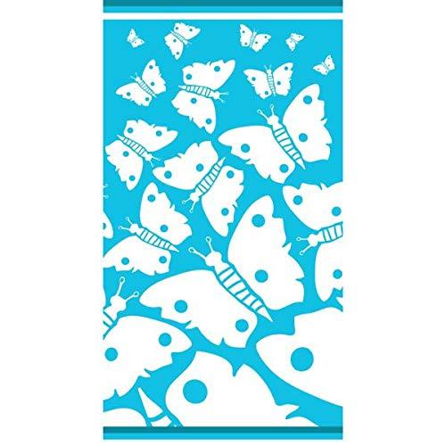 Tagula - Toalla de Playa, diseño de Mariposa, Color Azul Cielo, 86 x 160 cm, 100% algodón, Absorbente, Tacto Aterciopelado