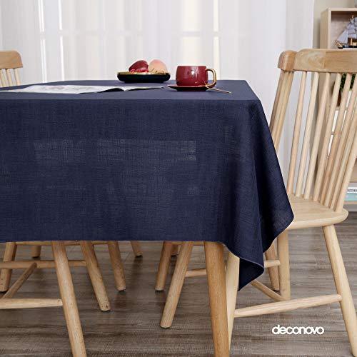 Deconovo Manteles Mesa Cocina Jacquard Mantel Impermeable Antimanchas Moderno 130 x 280 cm Azul Marino
