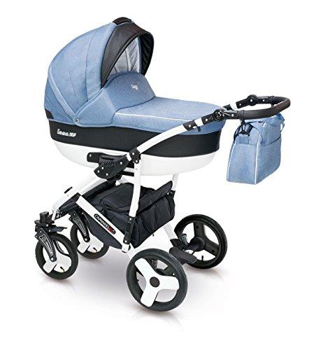 Lux4kids Cochecito 3 in 1 Silla de paseo + capazo + silla para coche + rutas giratorias neumática - giratorias + colchón + accesorios opcionales VIP Hecho en Europa Carera negro-azul con sombrilla