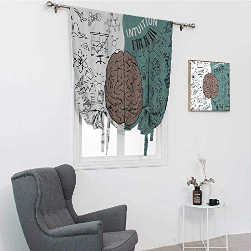 """GugeABC Modern Decor Curtains for Kitchen, Brain Image with Left and Right Side Music Logic Art Side Science Print Window Shades for Home, White Teal Umber, 35"""" x 64"""""""