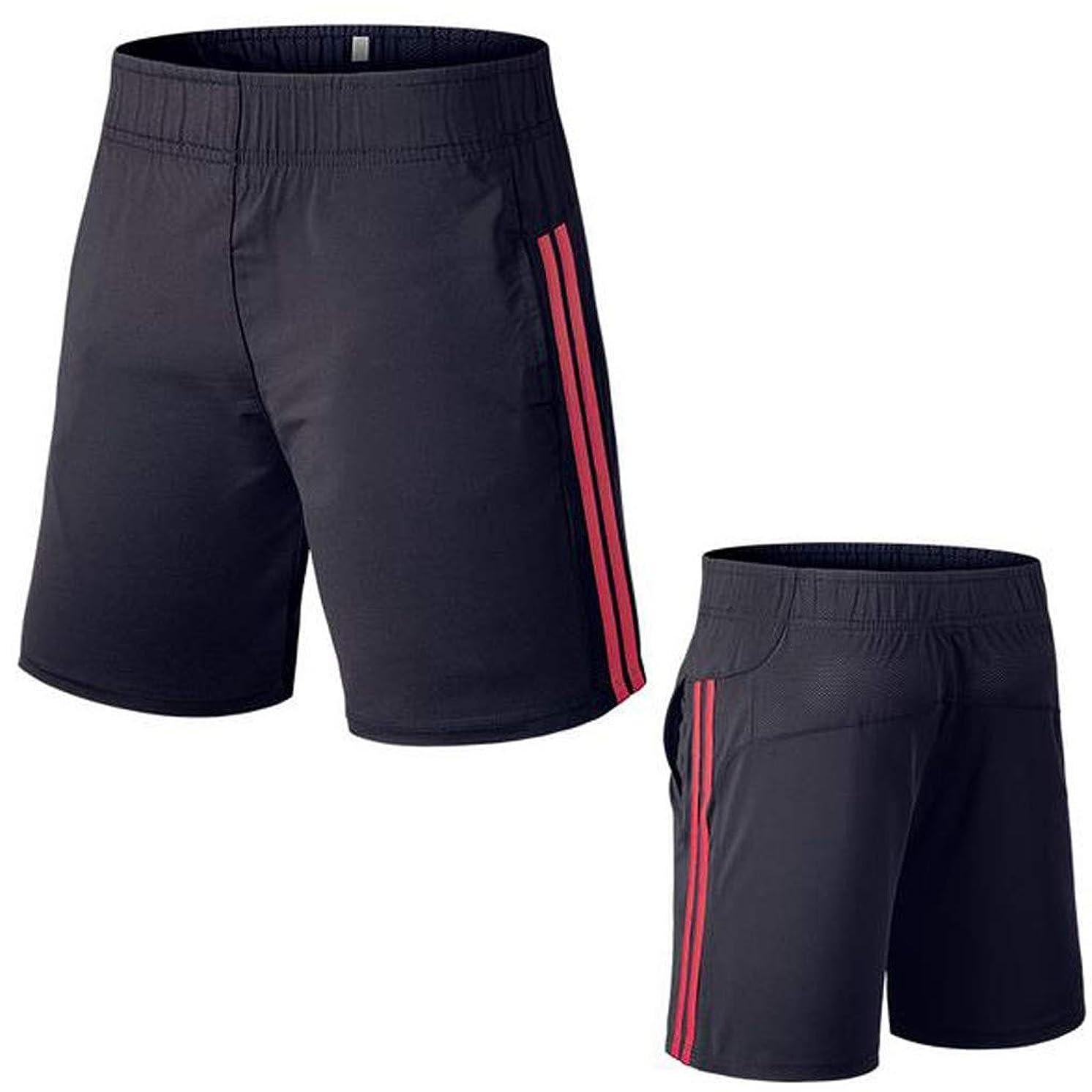 iYBUIA Mens Fitness Stripe Bodybuilding with Pocket Skin Tight-Drying Short Sports Leggings Pants