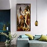 wZUN La Famosa Pintura de Edipo y la Esfinge Pintada al óleo sobre Lienzo 60x120 Sin Marco