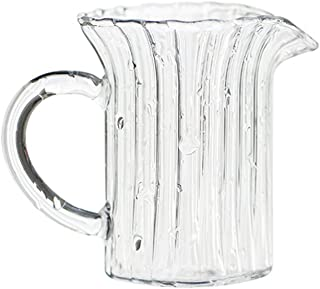 CHOOLD Creative Embossed Stripe Clear Crystal Glass Creamer Pitcher/Serving Pitcher/Sauce Pitcher/Milk Coffee Creamer Jug for Kitchen(4/5.5/9/12oz)