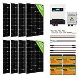 ECO-WORTHY Sistema Solar 4kWh con Inversor Integrado y Batería Kit Off-Grid 960W 24V para Doméstico/RV: 8 Paneles Solares 120W + Inversor Solar 1500W 24V + 4 Baterías Litio 50Ah
