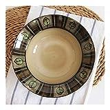 Bowls ZWJ-Sopa de fideos de lujo de moda vajilla de cocina estilo japonés de cerámica grande ensalada de frutas cereal sopa ramen fideos pasta pajita de paja para microondas 20,3 cm