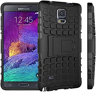 Samsung Galaxy Note 4 Funda Con Pata de cabra / Stand,EMAXELERS Slim Protector Dise?o Seguro Non-Slip Grip Unico Hybrid Soft & Duro A prueba de golpes Protecci¨®n Cover Para Samsung Galaxy Note 4(Black)