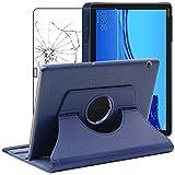 ebestStar - Funda Compatible con Huawei MediaPad T5 10.1 Carcasa Cuero PU, Giratoria 360 Grados, Función de Soporte, Azul Oscuro +Cristal Templado Pantalla [T5 10.1: 243 x 164 x 7.8mm, 10.1'']