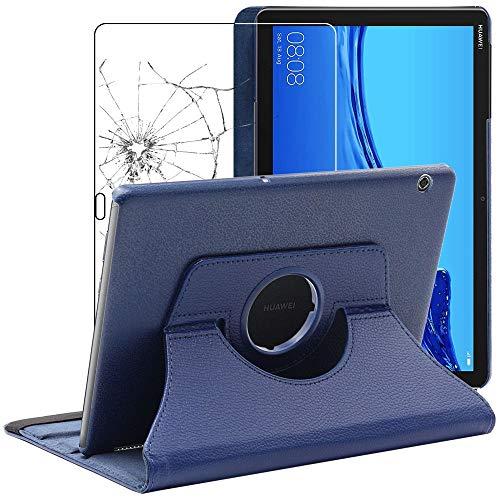 ebestStar - Cover Compatibile con Huawei MediaPad T5 10.1 Custodia Protezione Pelle PU con Supporto Rotazione 360, Blu Scuro + Pellicola Vetro Temperato [T5 10.1: 243 x 164 x 7.8mm, 10.1'']