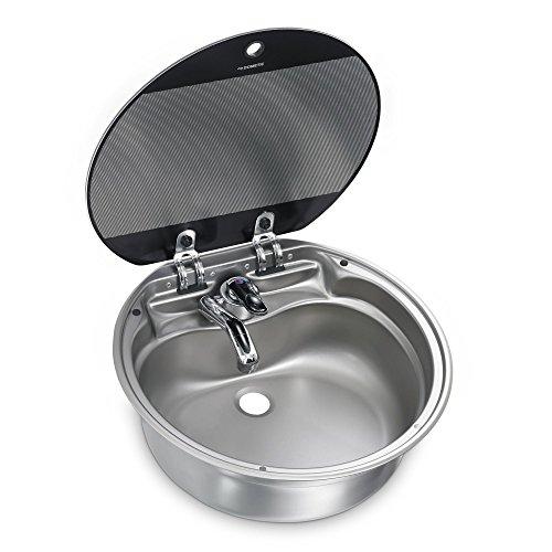 Dometic SNG 420, Runde Spüle / Spülbecken mit Glasabdeckung, Ø 420 mm für Wohnmobil und mobile Küche