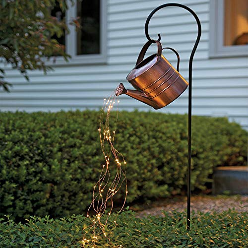 Star Shower Garden Art Light Decoration Led Waterproof Waterfall Flash Lights Watering Can Lights Spray String Lights for Party Home Garden Bedroom Yard Button Battery Powered (with Bracket)