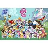 LXCS Pony Madera Polaroid Puzzle Juguete, mi pequeño Pony de Dibujos Animados cómico Cartel Rompecabezas, Juguete de la educación de descompresión cumpleaños